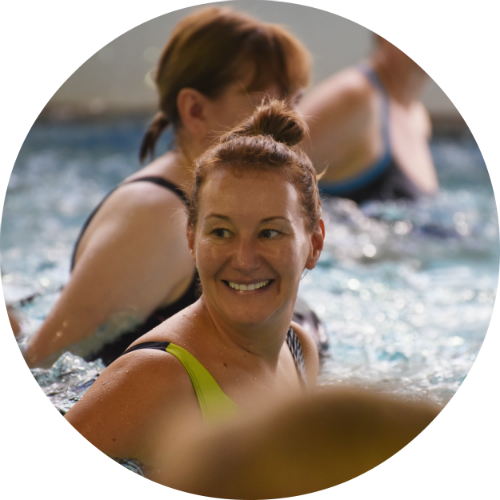 Round image person in swimming class